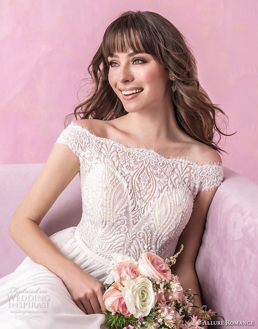 allure romance fall 2018 bridal off the shoulder straight across heavily embellished bodice romantic soft a line wedding dress full lace back chapel train (2) zv
