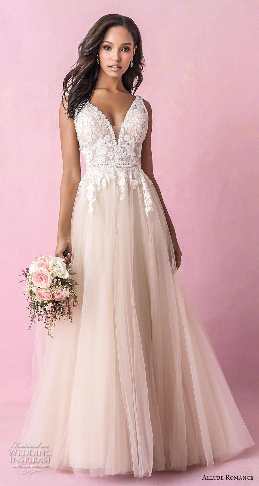 allure romance fall 2018 bridal sleeveless deep v neck heavily embellished bodice romantic blush soft a line wedding dress open v back chapel train (3) mv
