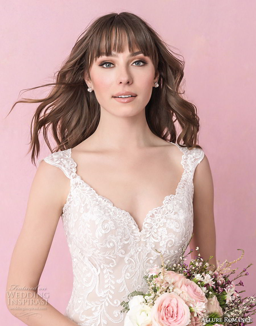 allure romance fall 2018 bridal thick strap v neck full embellishment elegant sheath wedding dress open scoop back chapel train (4) zv