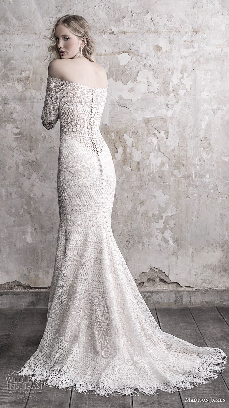 madison james fall 2018 bridal three quarter sleeves off the shoulder full embellishment elegant vintage fit and flare sheath wedding dress lace back sweep train (1) bv