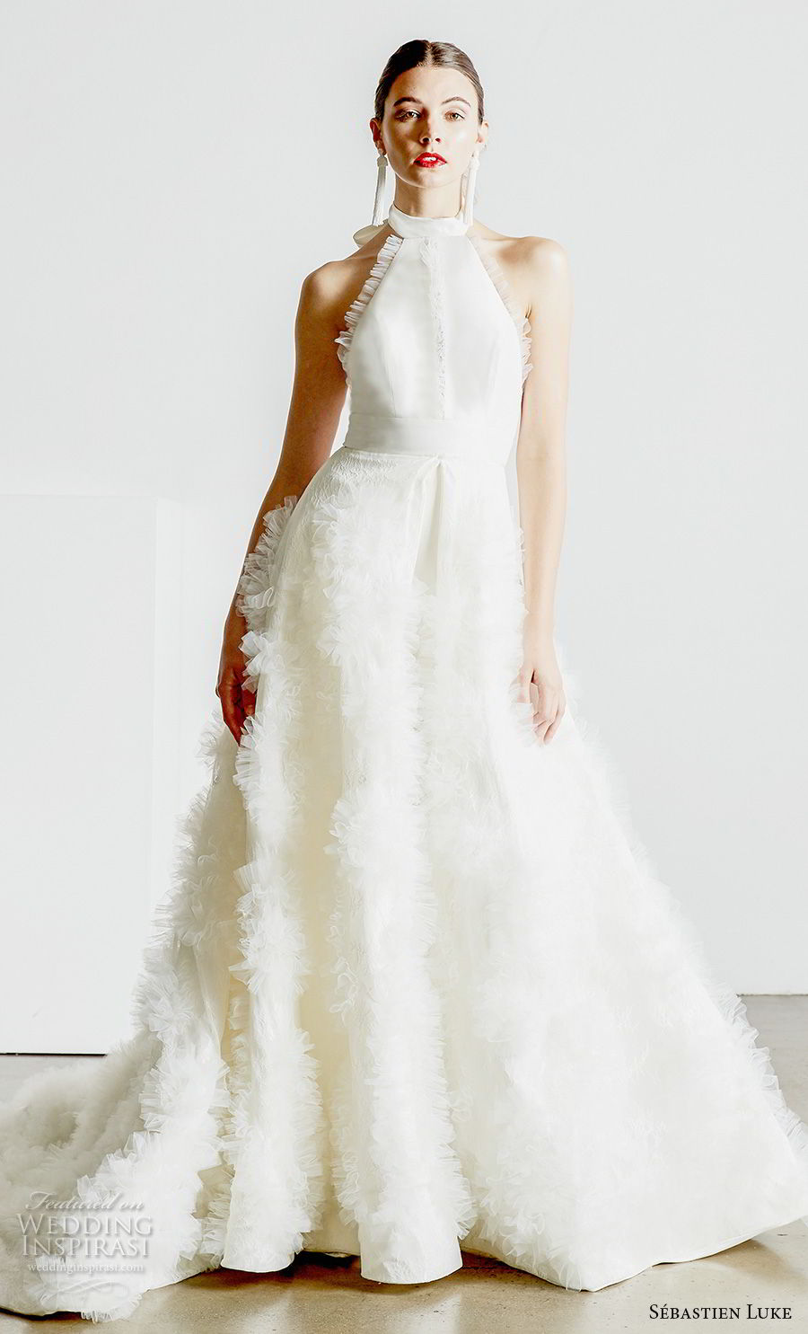 sebastien luke spring 2019 bridal halter high neck simple minimalist modern ankle jumpsuit wedding dress a line overskirt open back chapel train (4) mv