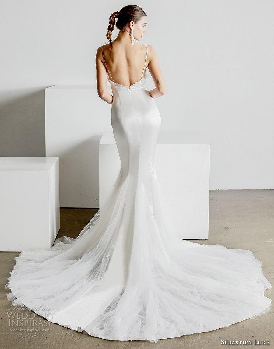 sebastien luke spring 2019 bridal strapless crumb catcher neckline simple minmalist elegant modern mermaid wedding dress open back chapel train (3) bv