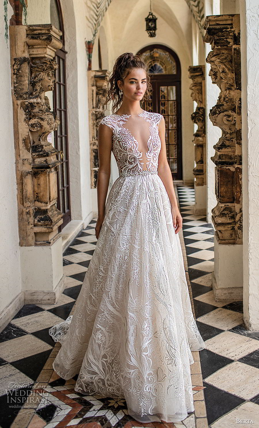 berta spring 2019 bridal cap sleeves deep plunging v neck full embellishment romantic glamorous a line wedding dress sheer button back chapel train (4) mv