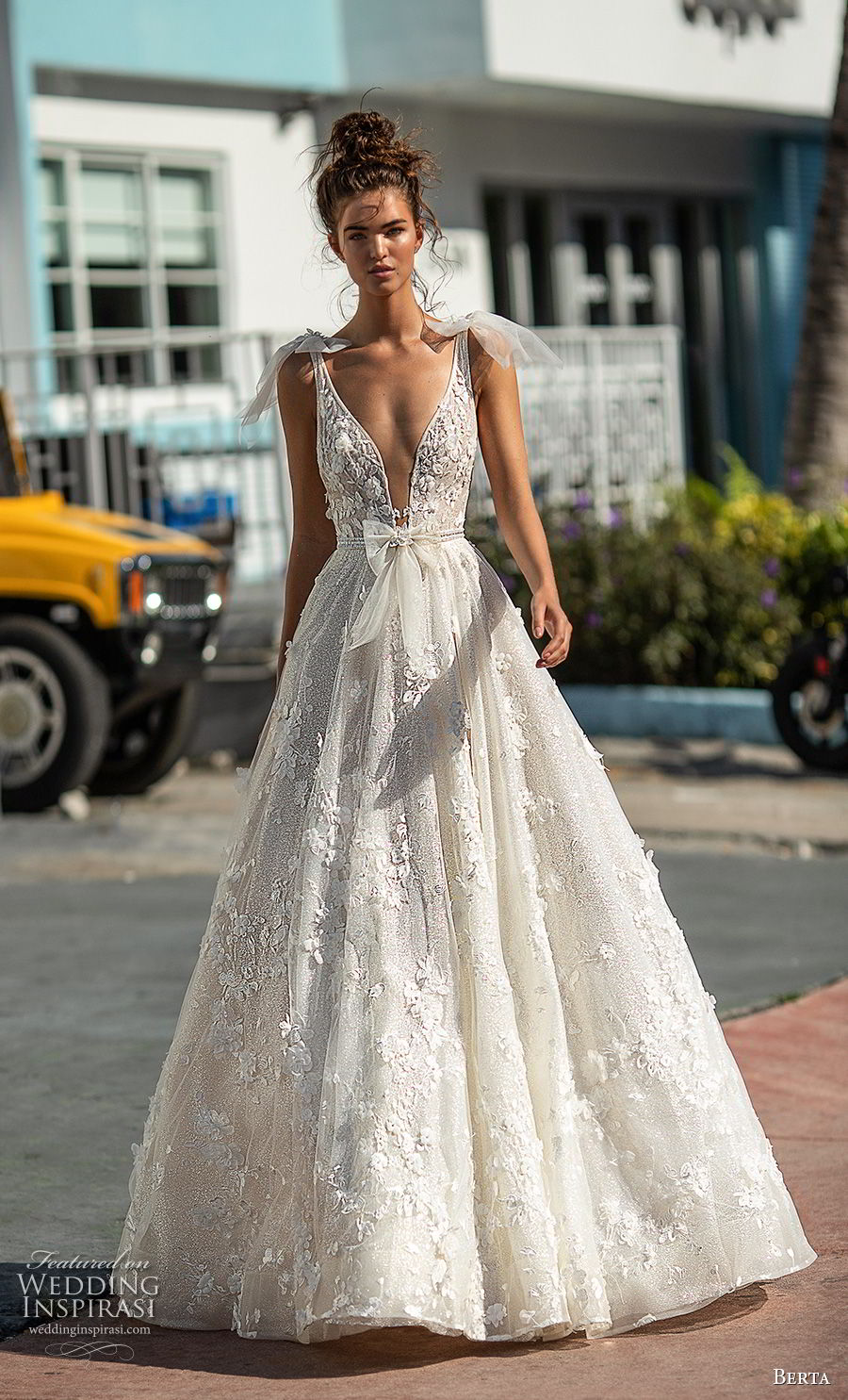 berta spring 2019 bridal sleeveless with ribbon straps deep plunging v neck full embellishment romantic a line wedding dress open scoop back chapel train (2) mv