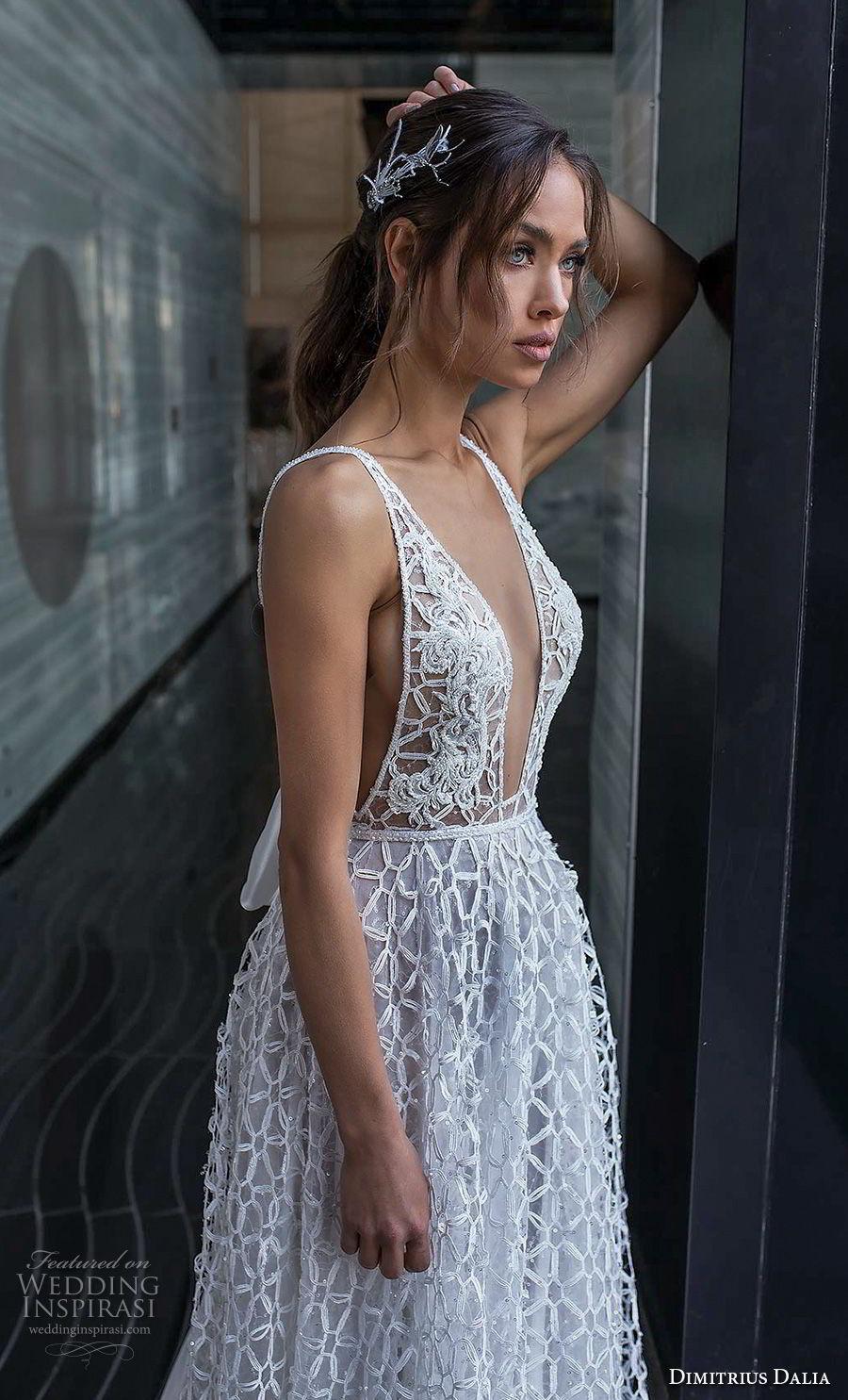dimitrius dalia 2018 royal sleeveless with strap deep v neck full embellishment sexy romantic a line wedding dress v ribbon back sweep train (4) zv