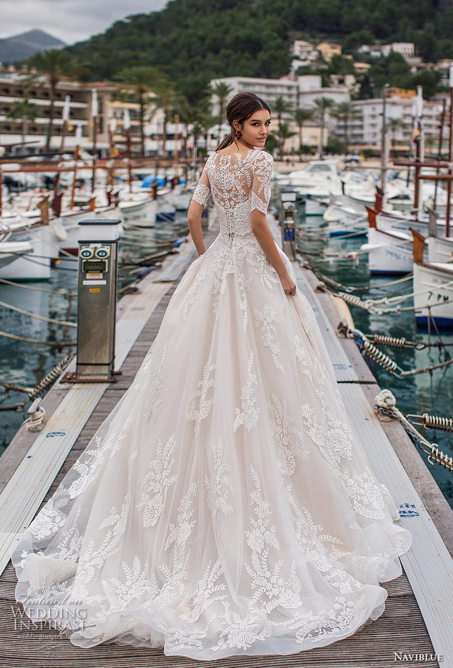 f453570e03f naviblue 2019 bridal half sleeves illusion bateau sweetheart neckline heavily  embellished bodice hem a line wedding