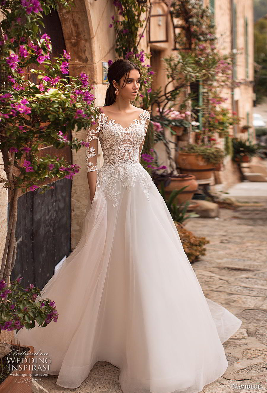 naviblue 2019 bridal half sleeves scoop neckline heavily embellished bodice romantic a line wedding dress lace back sweep train (2) mv