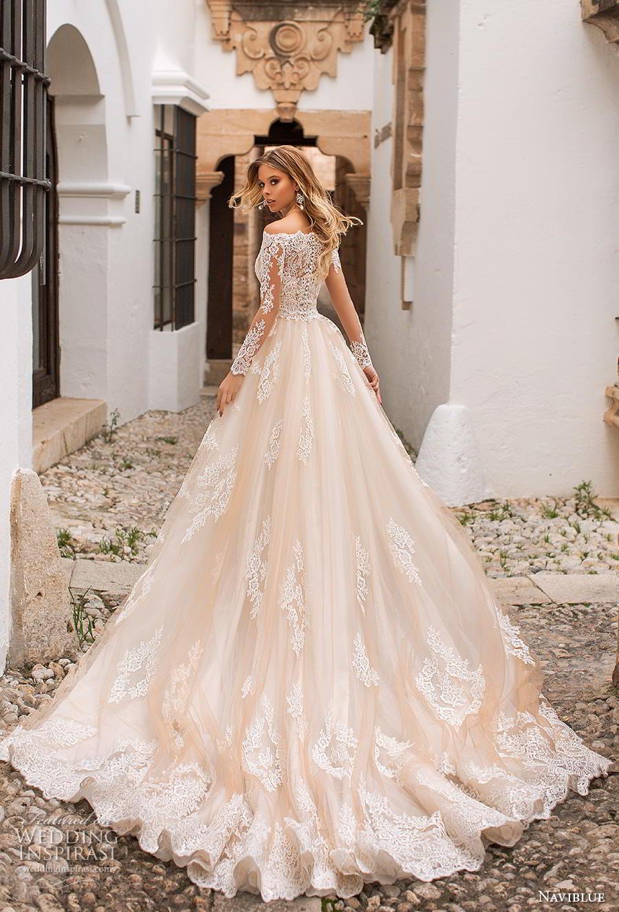 naviblue 2019 bridal long sleeves bateau neck full embellishment drop waist champagne a line wedding dress lace back chapel train (5) bv