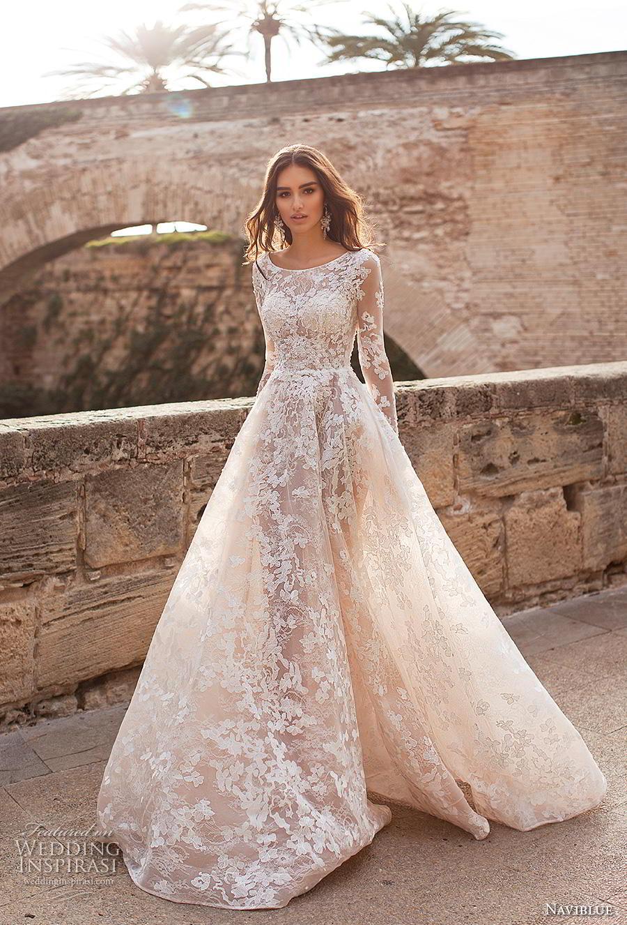 naviblue 2019 bridal long sleeves bateau neck full embellishment elegant modest a line wedding dress covered lace back chapel train (15) mv