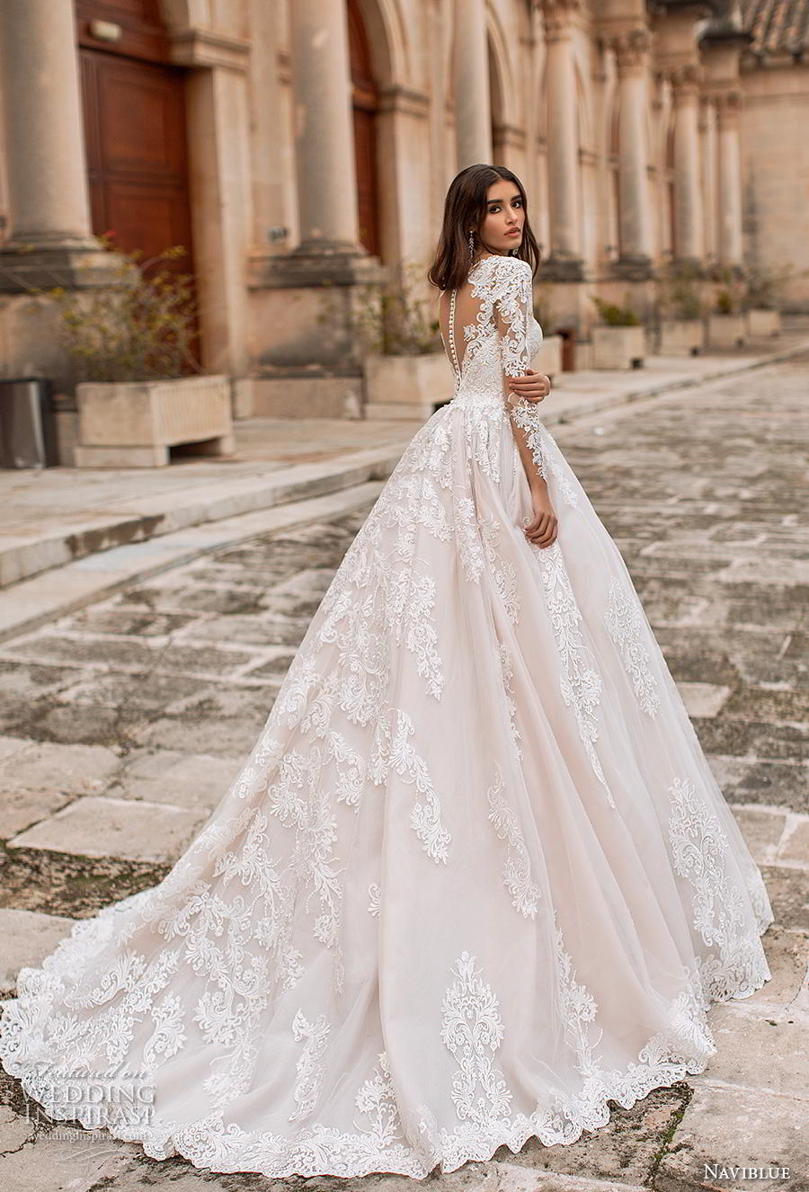naviblue 2019 bridal long sleeves deep plunging v neck heavily embellished bodice princess romantic a line wedding dress sheer button back chapel train (7) bv