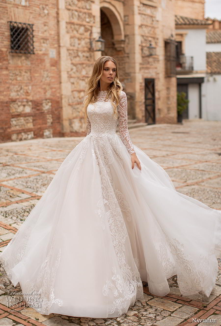 naviblue 2019 bridal long sleeves illusion bateau straight across neckline heavily embellished bodice romantic a line wedding dress covered lace back royal train (10) mv