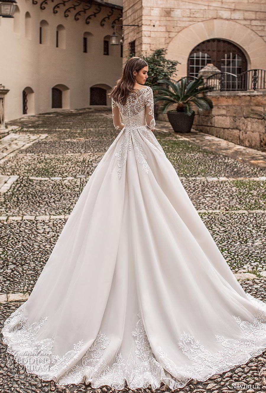 naviblue 2019 bridal long sleeves illusion off the shoulder sweetheart neckline heavily embellished bodice princess romantic a line wedding dress lace back chapel train (8) bv