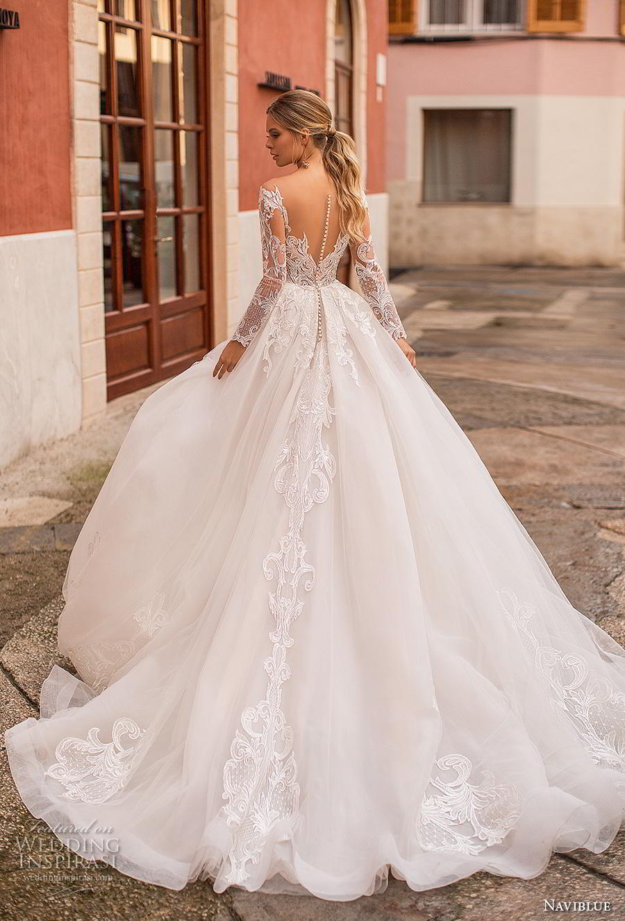 641c8895a2e naviblue 2019 bridal long sleeves sweetheart neckline heavily embellished  bodice princess ball gown a line wedding