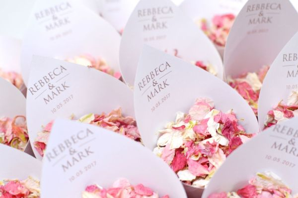 Lace theme Personalised Confetti Cones with Blush from £11