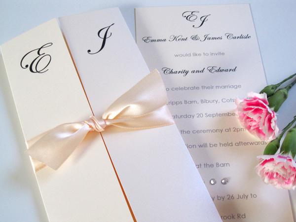 Design of the Day Canonbury gatefold invitation with satin ribbon and diamantes  Wedding