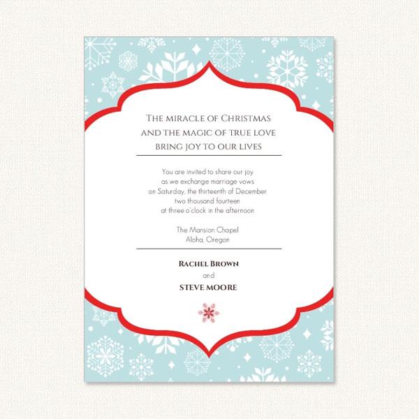 Snowflake Wedding Invites With Holiday