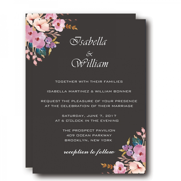 Vintage Black Wedding Invitations Blush Flowers Boho Watercolor Fl Pattern Winter Weddings Save The Date Wip004