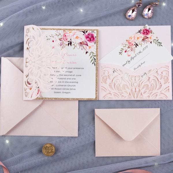 Blush Pink Fl Laser Cut Wedding Invitations With Gold Glitter Backer Bridal Shower Spring Wlc025