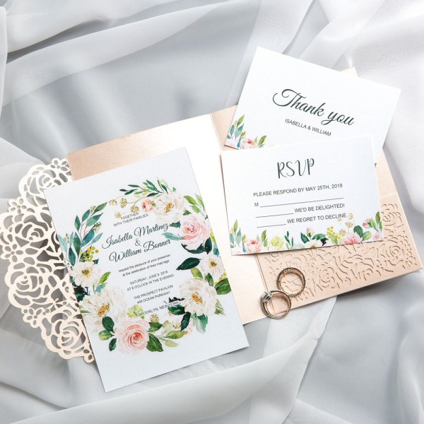 Spring Laser Cut Wedding Invitations Blush And Greenery