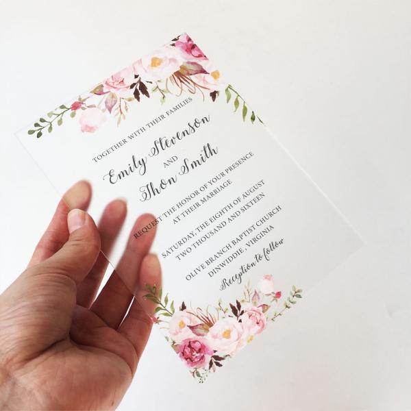 clear floral acrylic wedding