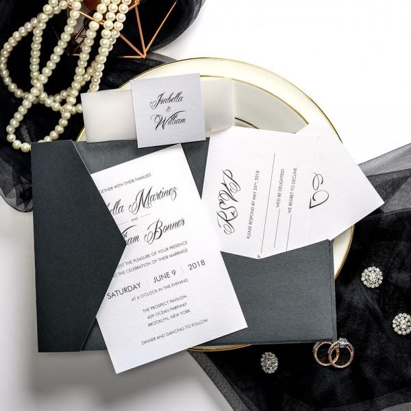 Black Vintage Wedding Invitations With