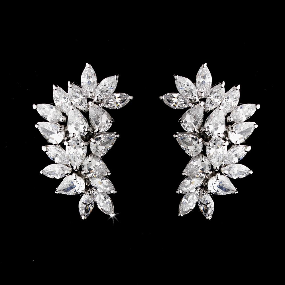 CZ Bridal Cluster Earrings Clip On Or Pierced Celine