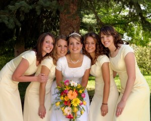 LDS wedding, LDS bride, LDS bridesmaids, temple wedding