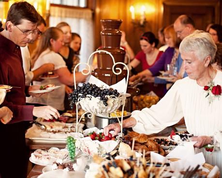 Buffet table at an LDS wedding reception