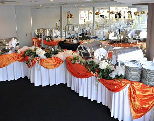 beautiful skirted food table