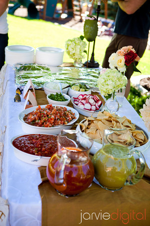 DIY buffet table at an LDS wedding reception