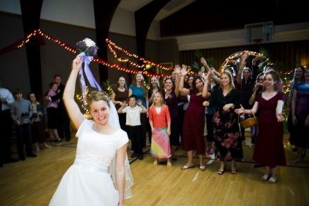 Bouquet toss for LDS wedding receptions