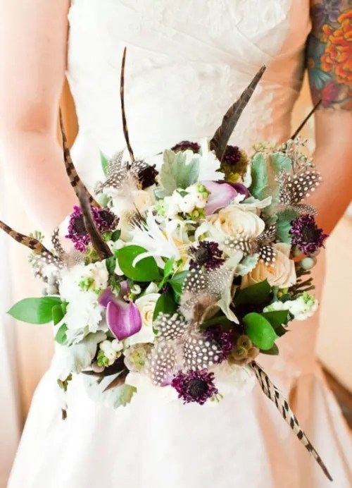 Textural Wedding Bouquet With Feathers