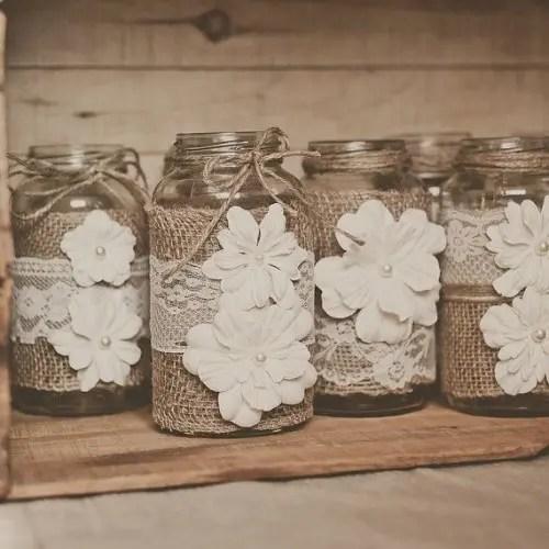 Burlap Covered Wedding Mason Jars