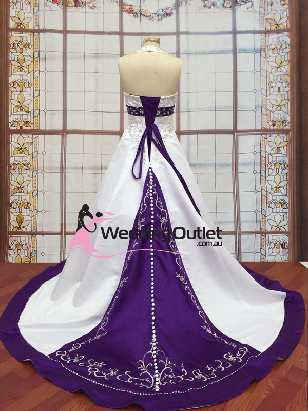 White Halter Wedding Dress