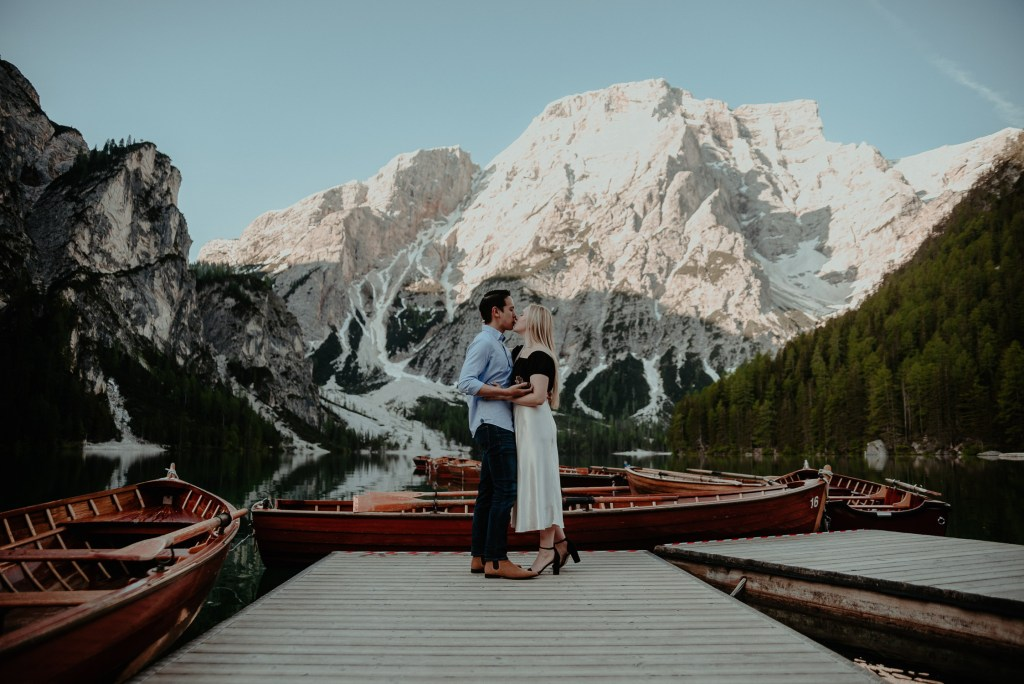 Lago di Braies Couple Engagement Photoshoot