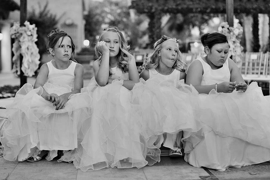 bored children at a wedding