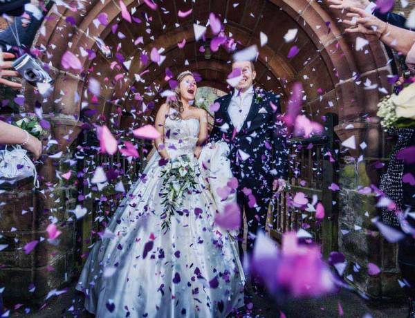 Confetti shows newly married couple
