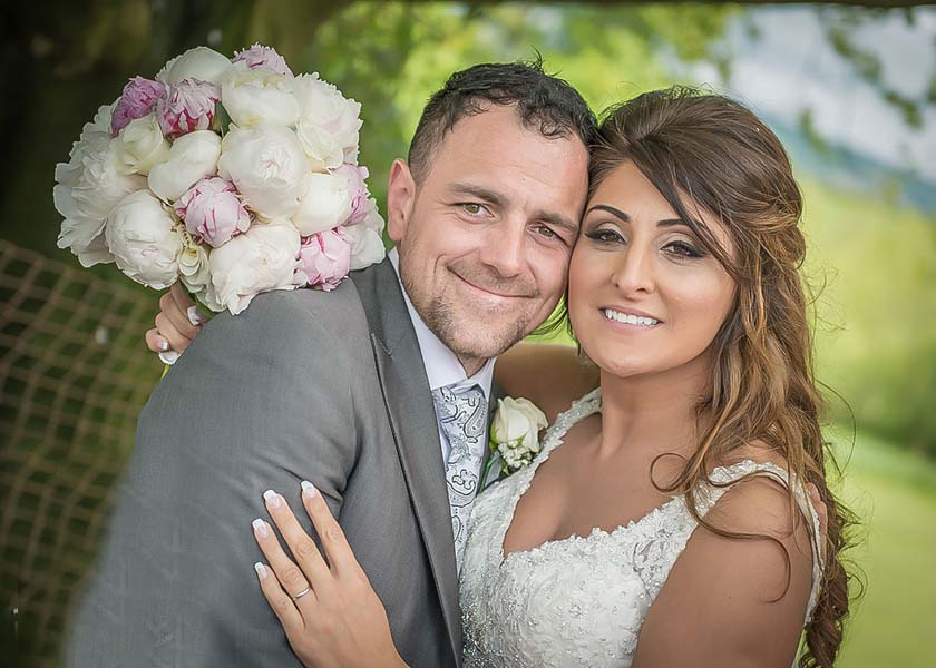 Happy couple at Stirk house hotel wedding