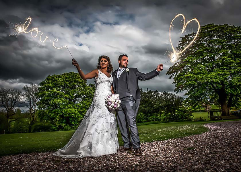 Sparklers at Stirk House Hotel wedding