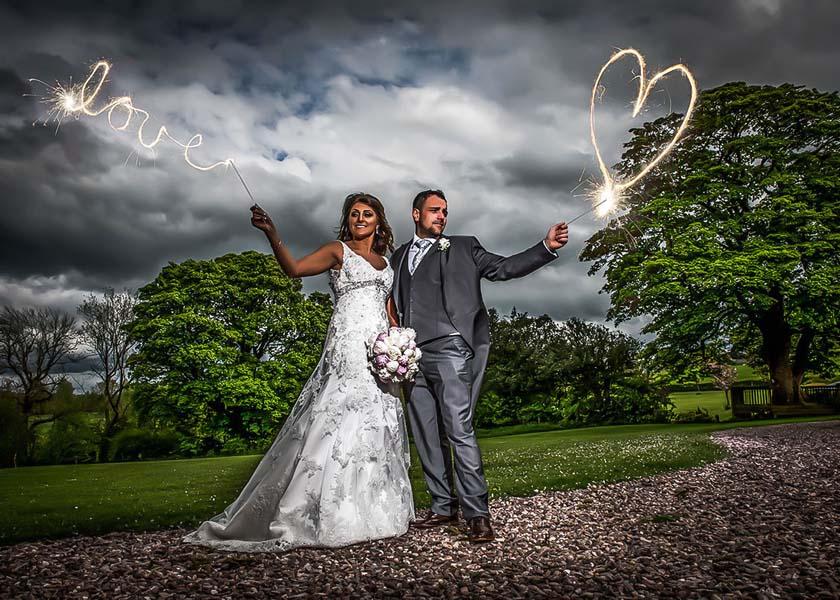 Sparklers at Stirk House Hotel wedding