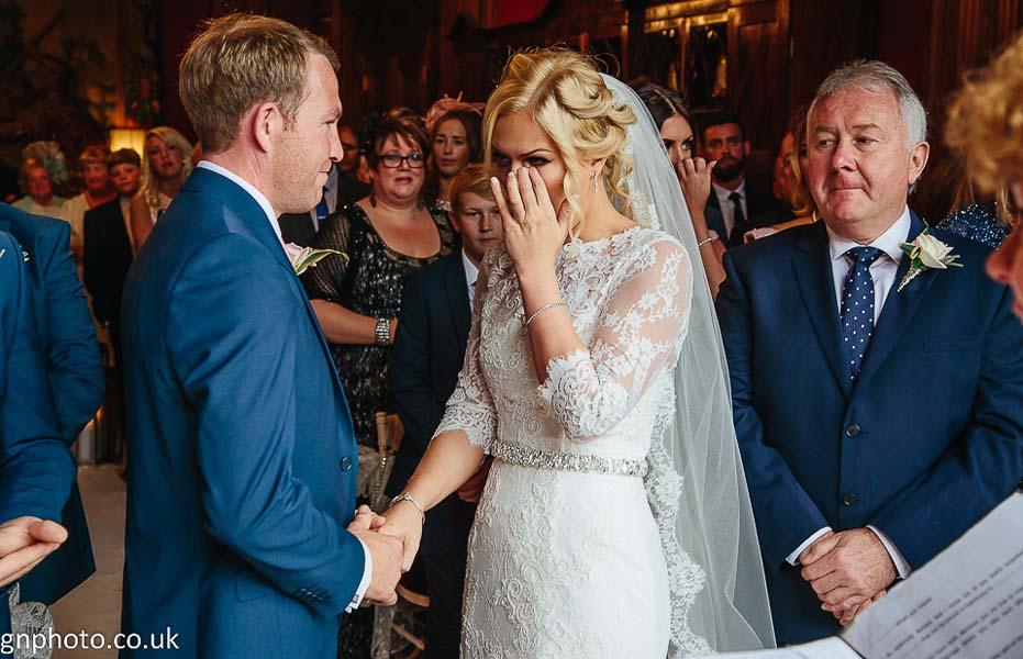 Bride cries at Thornton Manor
