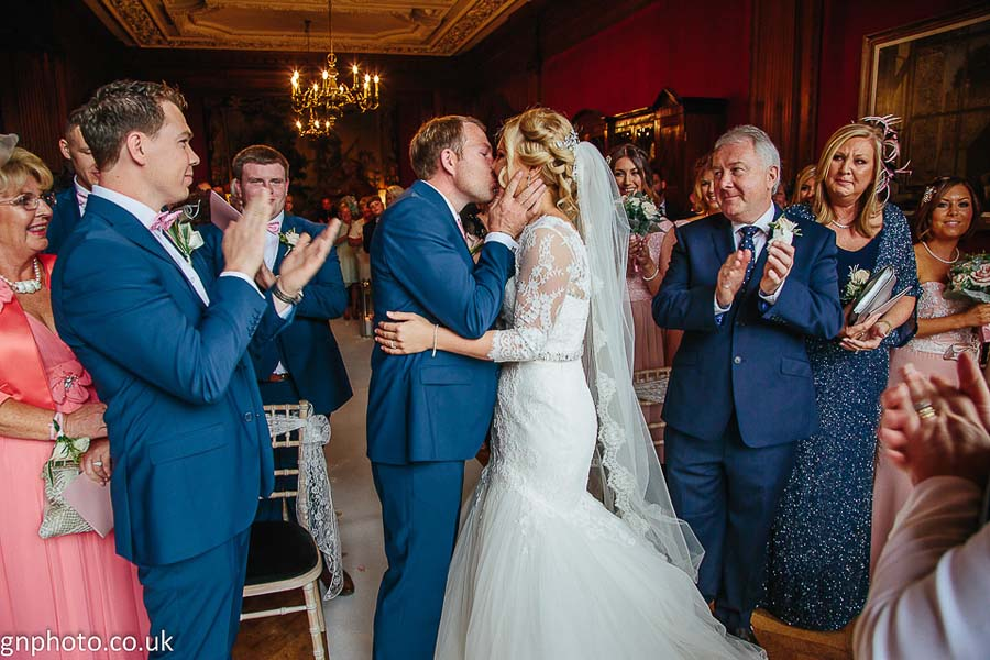 Kiss at Thornton Hall wedding