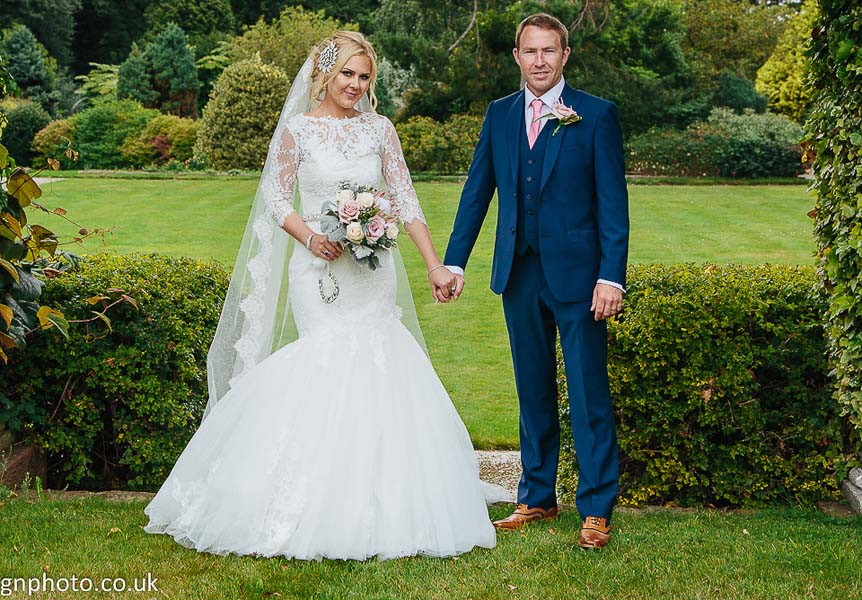Bride and groom after wedding, Thornton Manor
