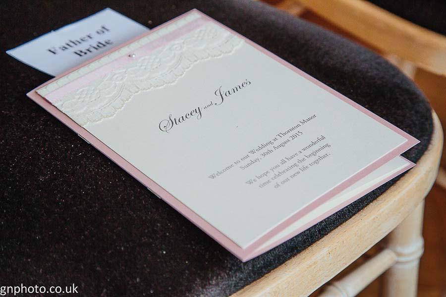 Wedding programme Thornton Manor