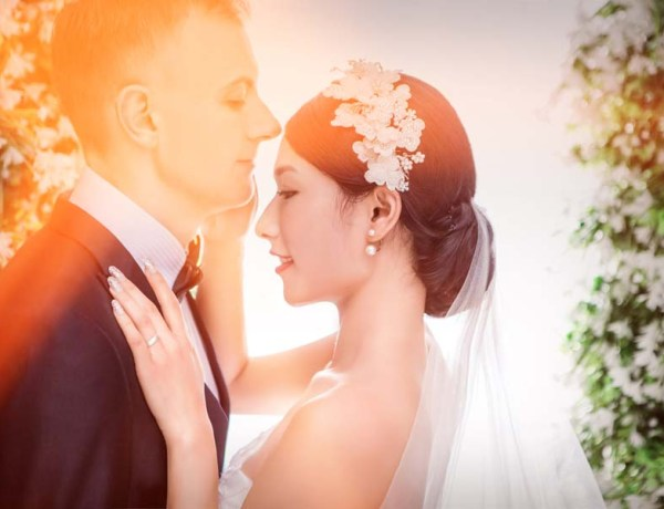 beautiful bride and groom posing