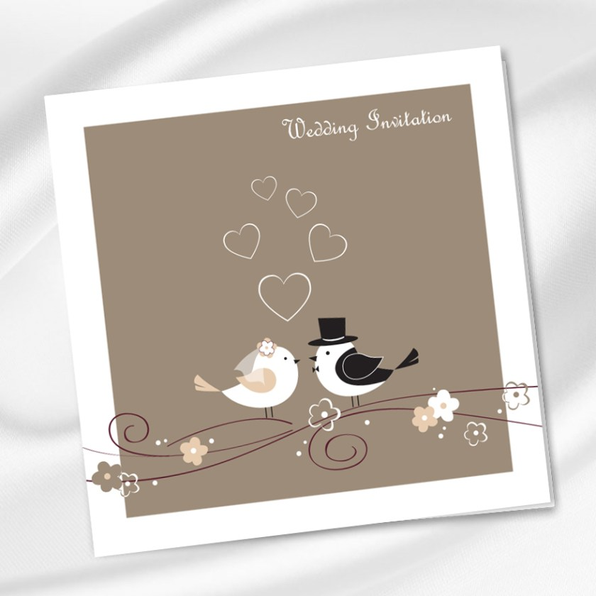 Bride Groom Love Birds Wedding Invitation Ireland Weddingprint Ie