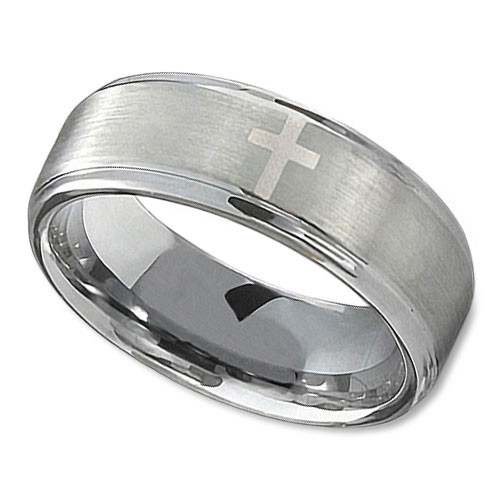 Mens Tungsten Wedding Band In 8mm With Polished Cross