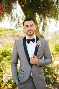 Grey Groom Suits With Bow Tie