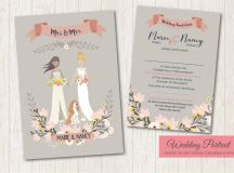 18 Beautifully Illustrated Wedding Invitations images 6