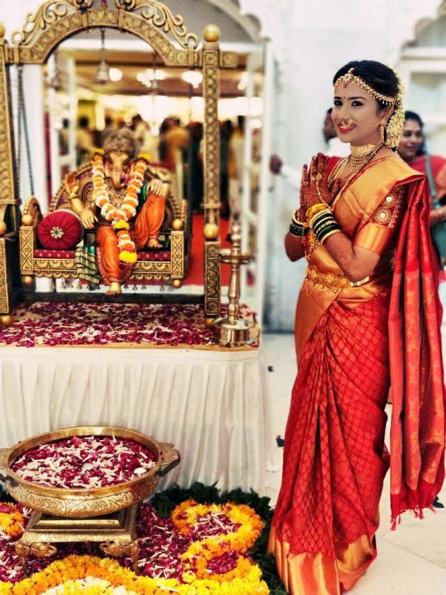 beautiful bride in orange sari